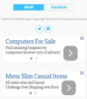 Dos anuncios en el pie de página de la versión móvil